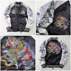 Japanese Black Silver Japan Dragon Badass Cool Ryu Sukajan Souvenir Jacket - Japan Lover Me Store