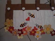 cortinas para cocina en patchwork rojo y beich - Buscar con Google
