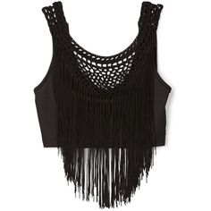 Forever 21 Fringe Queen Crop Top ($16) ❤ liked on Polyvore featuring tops, shirts, crop tops, crop, crochet shirt, embellished crop top, forever 21 tops, scoop neck top and fringe shirt