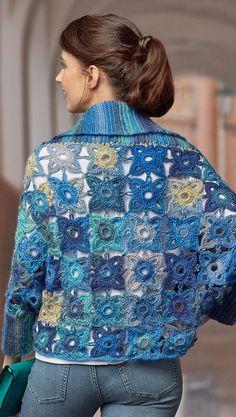 Marly's Granny Square Cardigan Free Pattern ⋆ Crochet Kingdom - Kleidung Poncho Au Crochet, Crochet Jacket Pattern, Crochet Coat, Crochet Granny, Crochet Clothes, Crochet Patterns, Free Crochet, Crochet Squares, Granny Squares