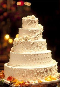 Quilts and Swirls Buttercream Wedding Cake