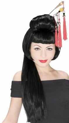 China Girl Wig long hair bead work Rubies costume theatrical oriental actress  #Rubies