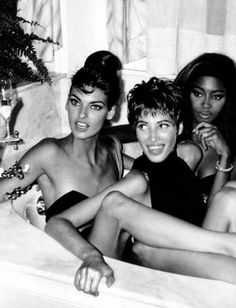 """We don't wake up for under ten thousand dollars"" -Linda Evangelista  (with Naomi Campbell and Christy Turlington)"
