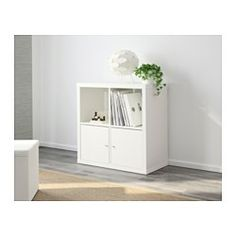IKEA - KALLAX, Shelf unit, white, , A simple unit can be enough storage for a limited space or the foundation for a larger storage solution if your needs change.Choose whether you want to hang it on the wall or stand it on the floor. Living Room Shelves, Living Room Storage, Ikea Kallax Shelf Unit, Ikea Kallax Regal, Ikea Family, Ikea Home, Living Room Inspiration, New Room, Home Furnishings