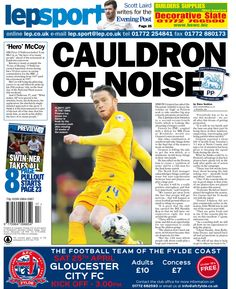 Today's back page 24-04-15 - Simon Grayson has asked the Deepdale faithful to keep the volume on 'high' as Preston seek to take another big step towards automatic promotion.