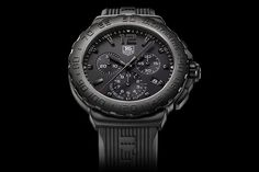 TAG HEUER FORMULA 1 STEALTH WATCH  The pitch-black Tag Heuer Formula 1 Stealth Watch ($TBA) is just the wristwear needed for those who like to keep it dark. The 42mm-sized watch features a black face, black lume, black-gold hour markers, and a stainless steel case with an all-black titanium-carbide coating. The only hint of color comes from the red-tipped chronograph hand.
