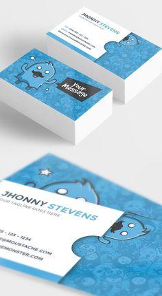 Moustache Monster Business Card #businesscards #visitingcards #psdtemplates…