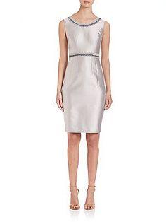 Lafayette 148 New York Nouveau Embellished Shantung Dress - Sterling -