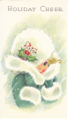 Vintage Christmas card - little girl in a fur trimmed coat and hat.