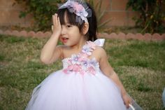 White with Pink and Lavender Underlay Flower Girl Tutu Dress