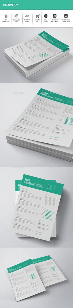 Resume/CV — Vector EPS #clear #minimal • Available here → https://graphicriver.net/item/resumecv/12829467?ref=pxcr