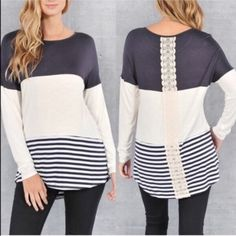 PRIMROSE color block striped top - NAVY Warm colors for this fall season! Beautiful back design. AVAILABLE IN NAVY.  NO TRADE, PRICE FIRM Bellanblue Tops Tees - Long Sleeve