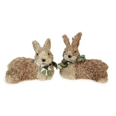 Brown Laying Down Easter Rabbits Bunnies with Bows Figurines