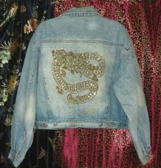 Bebo Beverly Hills Studded Tattoo design Dragon Denim Jacket sz. med. #JeanJacket
