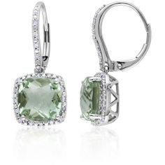 Belk & Co.  10K White Gold Green Amethyst And Diamond Earrings ($1,033) ❤ liked on Polyvore featuring jewelry, earrings, green, earring jewelry, green diamond jewelry, green amethyst jewelry, green amethyst earrings and cushion cut diamond earrings