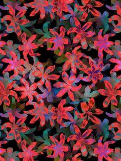 Tropical Serenade - Black Art Print by Schatzibrown - #textile