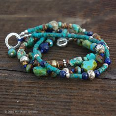 Multi strand bracelet - Turquoise Lapis Silver Bracelet- 3 Strand Gemstone bracelet with Hill Tribe Silver by mymusejewelry on Etsy