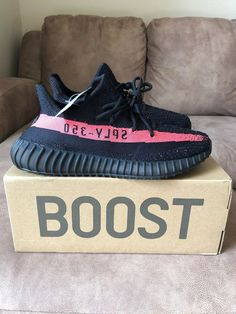 ac9223844916a YEEZY Boost 350 V2 Core Black Red Stripe Mens US Size 12 (100% Authentic