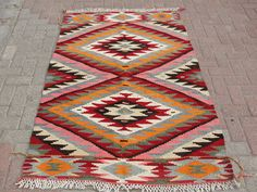 "VINTAGE Turkish Rug Kilim Carpet, Handwoven Kilim Rug,Antique Rug Kilim,Decorative Kilim, Natural Wool 45"" X 70.5"" (115CM x 179CM)"