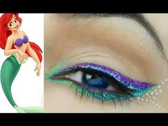 Disney Princess Makeup: The Little Mermaid Ariel Disney Princess Makeup: Die kleine Meerjungfr Mermaid Eye Makeup, Little Mermaid Makeup, Disney Eye Makeup, Ariel Makeup, Disney Inspired Makeup, Disney Princess Makeup, Mermaid Eyes, Ariel The Little Mermaid, Make Up Looks
