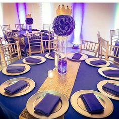 Purple and gold for the win! Purple Table Decorations, Birthday Table Decorations, Gold Wedding Decorations, Table Centerpieces, Wedding Ideas, 70th Birthday Parties, Birthday Party Tables, Surprise Birthday, Birthday Ideas