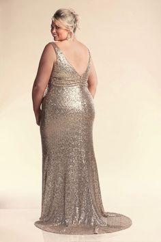 Gold plus size wedding dress