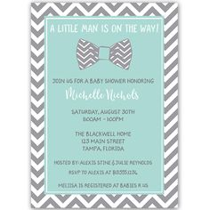 Invite guests to your boy baby shower with this chevron striped invitation featuring a bowtie for the little man in aqua blue and baby gray.