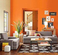La conbinacion del blanco con el naranja hacer que se illumine la sala y le da un toque mas tropical a los espacios amplios.