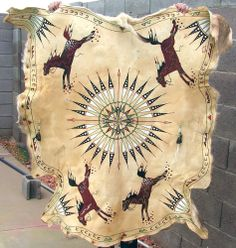 Native American Mule Deer Hide Painting Plains Indian Western Southwest Art Cabin Décor Wall Art Hanging Horses Feather Circle