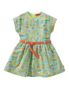 686e0726f9d8cf Oilily - Dress in light cotton with a street map print in summery colors.  The bottom of the dress is slightly flared and the waist can be fitted with  the ...