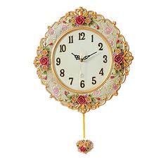 "Novelty Rural Roses European Style Arts Quartz Clock Home Decoration Wall Clock 14"" – USD $ 71.99"