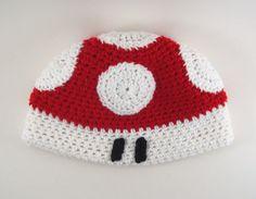 Red Mushroom Hat, Super Mario Bros Video Game (crochet beanie) via Etsy