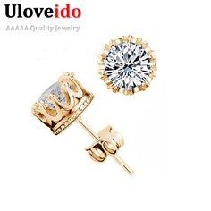 d599566f8 US $1.87 25% OFF|Aliexpress.com : Buy Almei Crown Gold Color Earrings Women  Brincos De Prata Men Cubic Zircon Silver White Crystal Brincos Jewerly Stud  ...