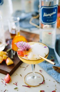 Hangar 1 Vodka Peach and Lavender Bellini via A House in the Hills