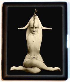 ART Deco Era Strange Weird Pose Flapper in Sideshow Circus like Costume Snake Charmer Pose Cobra Flapper Era Cigarette Case or Wallet. $9.99, via Etsy.