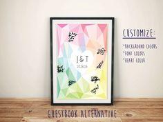 "Guestbook Alternative for Wedding- Printable Digital File- Geometric Initials, Monogram & Wedding Date Poster, Modern, 11x14"", 16x20"" custom by FoxyPrintables on Etsy"
