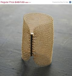 SALE Cleopatra CUFF bracelet wire crochet gold filled by Yoola