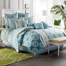 The Azure Sky comforter gives your bedroom a colorful update with aqua and seafoam accents decorated with stylish medallions and an embroidered vertical panel for a unique touch. Comforter reverses to an Ikat diamond print. Bedroom Bed, Bedroom Decor, Master Bedroom, Bedroom Ideas, Bedrooms, Bedroom Inspiration, Green Rooms, White Furniture, Blue Pillows
