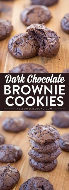 HOMEMADE Dark Chocolate Brownie Cookies - super decadant fudgy cookies that are tender and chewy like a brownie. Chocolate Brownie Cookies, Dark Chocolate Brownies, Chocolate Treats, Chocolate Flavors, Chocolate Recipes, Bakers Chocolate, Köstliche Desserts, Delicious Desserts, Dessert Recipes