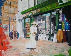 Recently finished an early 1900's Dublin street scene in acrylic and ink. There's a lot going on. The lady, walking with determination, representing emerging women's liberation, the men turning their backs in disapprovement. The boys, Ireland's next generation, huddled together plotting the countries release from British rule, all reinforced by the green colour of Irish Catholics pushing in from the right, crushing the white, the truce, and expelling the orange of Irish and British… Green Colors, Vibrant Colors, Dublin Street, Irish Catholic, Old Photos, Contemporary Art, The Past, It Is Finished, Canvas