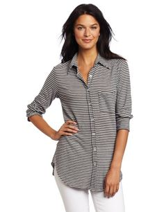 allen allen Women's Stripe 3/4 Sleeve Button « Clothing Impulse- It might blind the people passing by!