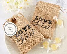 """Love is Sweet"" Burlap Drawstring Rustic Vintage Wedding Favour Bag"