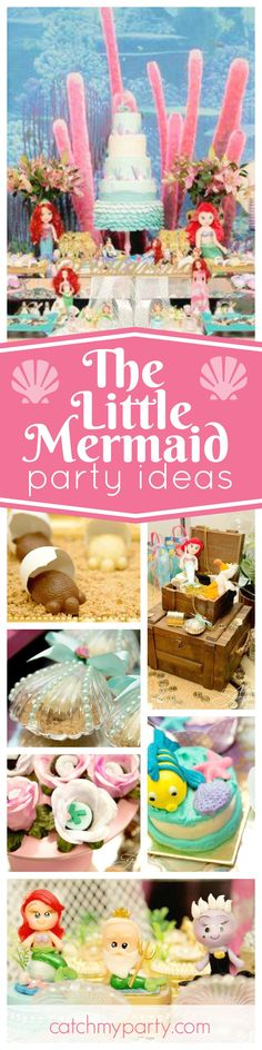 Dive into this gorgeous Little Mermaid birthday party. The birthday cake is amazing!! See more party ideas and share yours at CatchMyParty.com