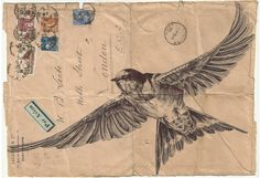 Mail art old envelope decorated with bird image