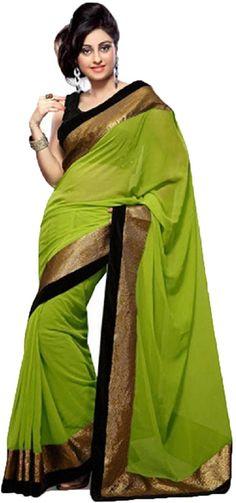 #WithBlousePiece #Bollywood #Sari #Georgette #Green #saree #women #style