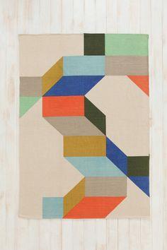 Teppich mit buntem, geometrischem Muster, 5 x 7 Fuß bei Urban Outfitters