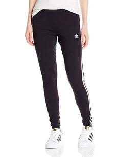 4511049288a1a adidas Originals Women's 3-Stripes Leggings, Black/Trefoil Stripe, Medium  (US