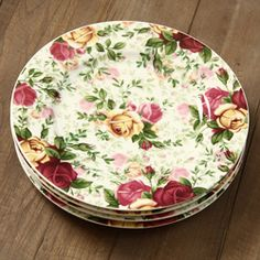 @Overstock.com - These dessert plates are decorated with a variation of the Old Country Roses' signature motif of burgundy, pink and yellow roses, accented with lustrous gold banding. This four-piece set makes an impressive complement to any dining decor.http://www.overstock.com/Home-Garden/Royal-Albert-4-piece-Country-Rose-Chintz-Dessert-Plates/5804281/product.html?CID=214117 $34.99
