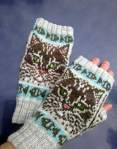 The PDF has instructions for fingerless mitts (pictured), and full gloves with nonstranded fingers. Both are highly giftable, but the first option knits especially fast.What does Barsik mean? Fair Isle Knitting, Loom Knitting, Hand Knitting, Knitting Patterns, Knitted Mittens Pattern, Mitten Gloves, Gatos, Embroidery, Mittens