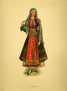 Karyes Thrace Greek Traditional Dress, Traditional Fashion, Traditional Outfits, Folk Fashion, Ethnic Fashion, Vintage Fashion, Greece Costume, Ancient Greek Costumes, Greek Fashion